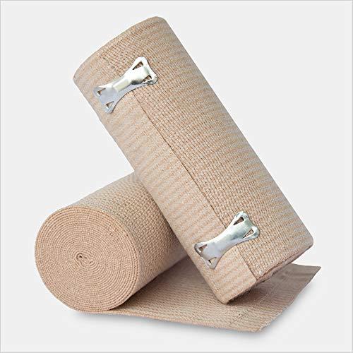 10-Pack Tronex Clipped Elastic Bandage, Elastic Bandage Wrap Compression Tape, Beige (6' x 5 yds)