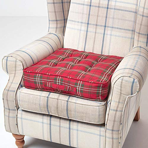 HOMESCAPES Red and Green Tartan Armchair Booster Cushion Large Firm 50 cm Square Seat Pad with Supportive 10 cm Thick Lift Luxury Soft Cotton Cushion For The Elderly, Post-Operative and Pregnancy