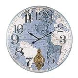 Vidal Regalos Reloj Pared con Pendulo Mapa Mundi Retro 58 cm