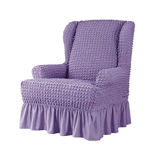 VanderHOME Stretch Sesselbezug mit Rüschen Ohrensessel husse Sessel-Überwürfe Ohrensessel Überzug Sofabezug Stretchbezug Stretchhusse Sofabezug Moderne lila