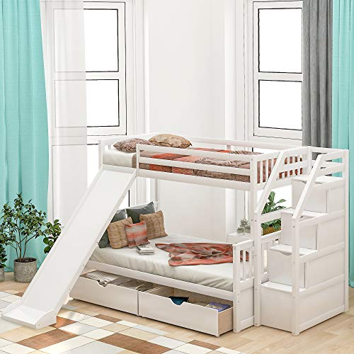 LUMISOL Twin Over Full Bunk Bed with Slide and Drawers, Multifuction Kids Bunk Bed Frame with Stairs (Whtie)