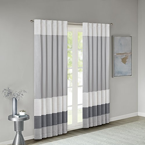 Madison Park Amherst Faux Silk Rod Pocket Curtain With Privacy Lining for Living Room, Window Drapes for Bedroom and Dorm, 50x84, Grey
