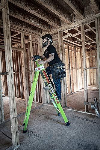 Little Giant Ladder Systems 13610-001 Green King Kombo Pro 6' A frame 10' Extension-Hi-Viz Type 1AA, 6 Ft