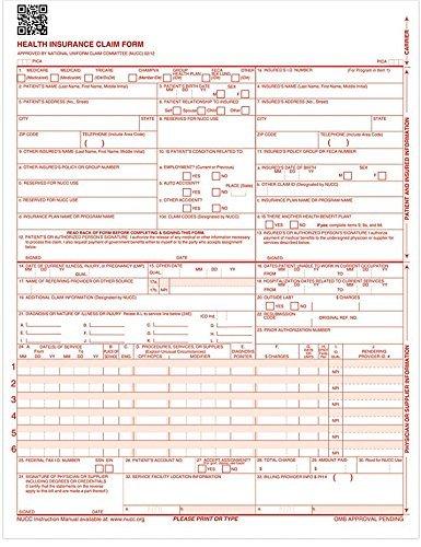 "CMS 1500 Claim Forms ""NEW"" HCFA (Version 02/12) - Health Insurance, Laser Cut Sheet - 25 Sheets"