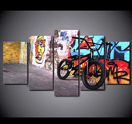 Moderne kunst decoratie vijf schilderijen canvas muurschildering tekening kleur mountainbike patroon achtergrond keuken woonkamer romantisch geschenk 20x30cmx2 20x40cmX2 20x50cmX1 Frameloos