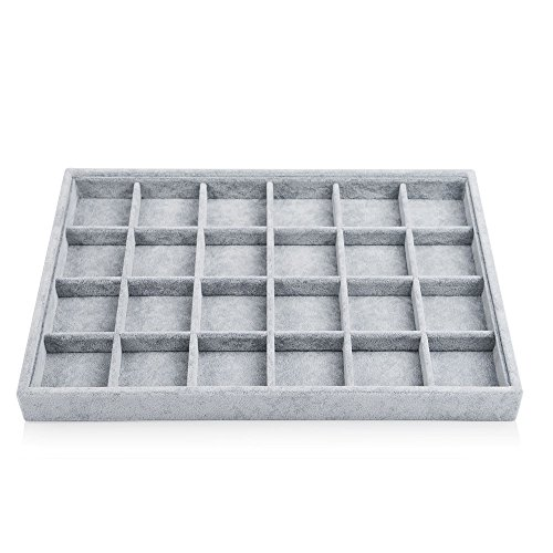 Oirlv 24 Grid Ice Velvet Jewelry Drawer Organizer Tray Stackable Jewelry Trays Removable Dividers for Rings Earring Storage Display