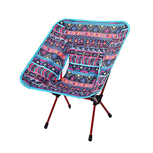 HELLEN Lightweight Folding Camping Backrest Chair, Aluminum Outdoor Portable Seat, Can Bear 85kg 11.6 (Color : Blue Ethnic Style)