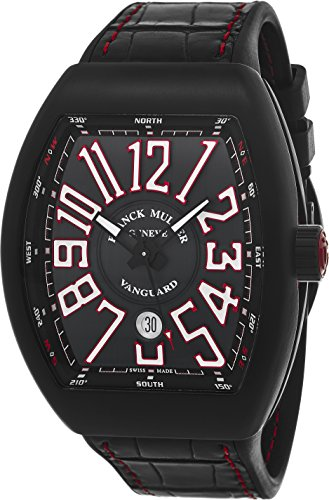 Franck Muller Vanguard Mens Black Face Automatic Date Black Rubber Strap Swiss Watch V 45 SC DT TT NR BR ER
