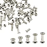 Kyuionty 100 Sets Chicago Binding Screws, Phillips Sex Bolt Barrel Nut Barrel Bolt Post Screw for Scrapbook Photo Albums Binding, Leather Repair, M5 x 6/10/12/15/18 mm