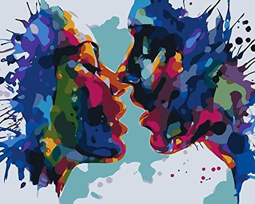 ADWEDDF Pintura por Números Kits Pareja romantica DIY Pintura al óleo Pintura para Adultos y Niños con Pinceles y Acrílica Pinturas Decoración de la Casa Familiar 40 * 50cm Sin Marco