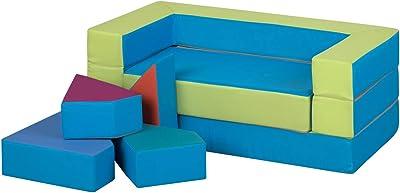 millybo Canapé de jeu 4 en 1 - Pour chambre d'enfant - Motif puzzle - Vert/bleu