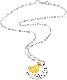 Bullidea Men Boys Pendant Necklace Elegant Silver Moon Letters Heart Chain Necklace Jewelry Express Love for Son