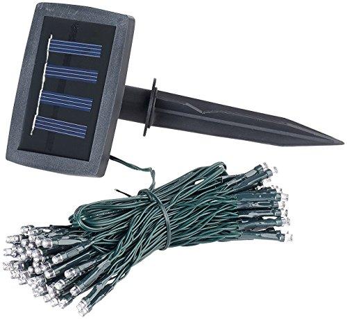 Lunartec Solar Lichterkette außen: Solar-LED-Lichterkette, 100 LEDs, Dämmerungssensor, warmw, 10 m, IP44 (Solar Lichterkette Outdoor)