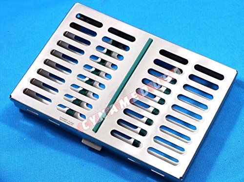 German Stainless 1 Dental Sterilization Cassette Rack Tray Box for 10 Surgical Instruments-Green