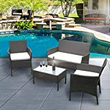 Daily Accessories Rattan Garden Chairs Table Set Black Outdoor Rectangular Patio Furniture Sets Includes 2 Armchairs 1 Double Seat Sofa And 1 Table