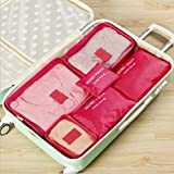 xmwm 6 PCS Travel Storage Bag Set For Clothes Tidy Organizer Pouch Suitcase Home Closet Divider Container Organiser,Rose Red