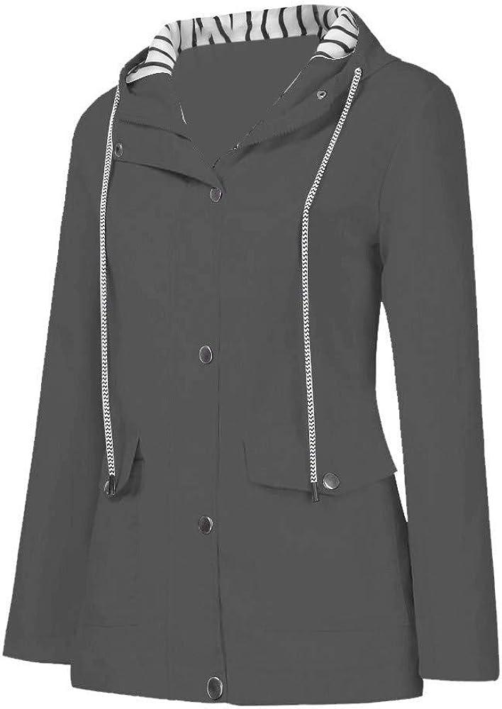 for Women Outdoor Casual Solid Jacket Pullover Plus Size Hooded Windproof Loose Coat Sweatshirt