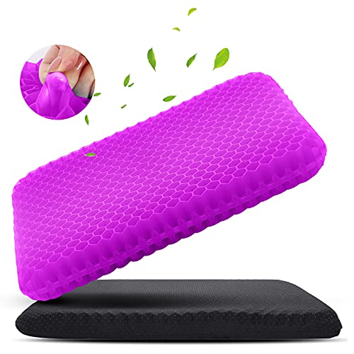 Purple Gel Seat Cushion for Long Sitting, Soft & Breathable, Gel Cushion for Wheelchair Reduce Sweat, Gel Chair Cushion for Hip Pain, Gel Seat Cushion for Office Chair, Gel Car Seat Cushion