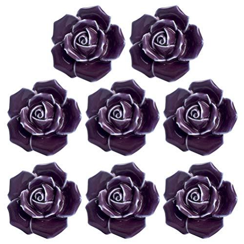 iplusmile 8Pcs Ceramic Rose Flower Cabinet Knobs Door Handle Pull Shabby Cupboard Locker Furniture Knobs for Drawer Chest Bin Dresser Kitchen Wardrobe Purple