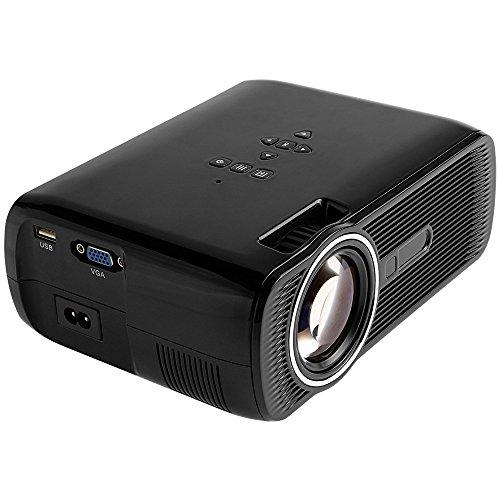 BJGUG Proyector, 1000 LúMenes Proyector De Video HD Home Cinema LCD Proyector De PelíCulas Soporte 1080P Hdmi Vga AV USB Ideal para Entretenimiento En El Hogar Juegos De Fiesta,Black