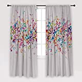 Henge Home Music Notes Printed Curtain/Thermal Insulated Drapes for Living Room Dining Room Bed Room with 2 Panel Set - Multiple Sized Colorful Fun