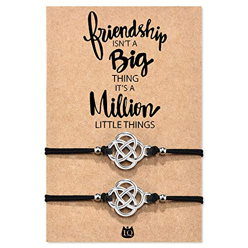 Lanqueen Relationship Bracelets for Best Friends Handmade Celtic Knot Infinity Friendship Matching Distance Wish Bracelet for Girls Women
