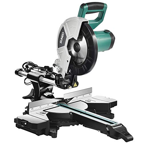 Miter Saw, SUNCOO 12 inch Double Bevel Sliding Miter Saw Crosscutting Power Miter Chop Saw Double Speed 4500RPM 3200 RPM, 48T Blade (12 IN) (12IN DOUBLEBEVEL)