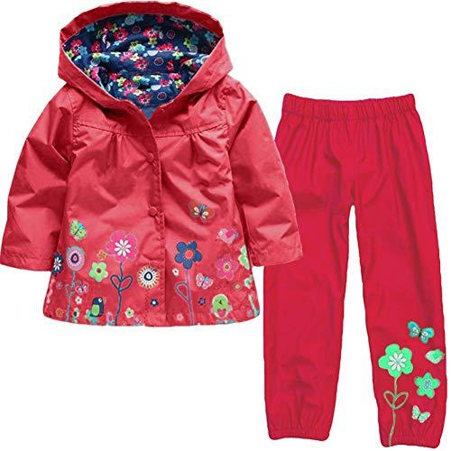 Baotung Kinder Mädchen 2tlg Bekleidungsset wasserdichte Regenjacke Regenanzug Regenmantel mit Kapuze und Blumenmuster + Regenhose, Rot, Gr.86/92(Herstellgröße:90)