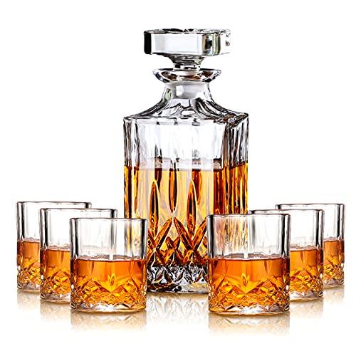 MIWU Juego de regalo de whisky – Decantador de 700 ml con tapón de vidrio, 2/4/6 copas de whisky combinadas, idea perfecta como regalo para papá (4tazas)