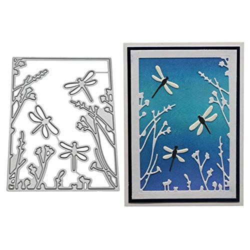 shengyuze 1 Pc Silver Dies Card Crafting from China Dragonfly Plant Metal Cutting Dies for Card Making Clearances DIY Dies Cut Scrapbooking Paper Cards Craft Stencil