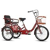 ns Pieghevole Trike A 3 Ruote Triciclo Bici da Crociera 20 Pollici Biciclette Tre Ruote Regolabile con Cesto di Carico per Gli Anziani Adulto Uomini Donne (Color : Red)