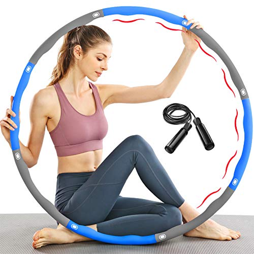 TTMOW Reifen Hoop Fitness zur Gewichtsreduktion mit Schaumstoff Gewichten Einstellbar von 1,65 bis 2,2 lb für Erwachsene und Kinder mit Geschenk Springseil (Blau)