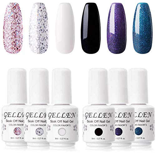 Gellen Gel Nail Polish Set - Classic and Gorgeous Series 6 Colors Black White Glossy Sparkles Glitters, Popular Galaxy Nail Art Colors Nail Gel Manicure Kit