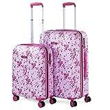 Lois - Set di 2 valigie giovanile/infantile 4 ruote doppie girevole. Trolley in ABS stampato. Rigide, resistenti, e leggere. Lucchetto integrato TSA. Piccola e Mediana. 131800, Color Fucsia