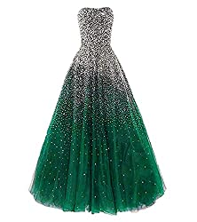 Darkgreen Long with Rhinestones Evening Pageant Gown