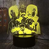 3D noche luz Naruto 3D ilusión lámpara 16 cambio de color...