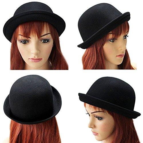 OULII OULII Mädchen Roll-UP KREMPE Wolle Dome Hut Melone Bekleidung Zubehör für Frauen (schwarz)