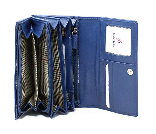 STARHIDE Ladies RFID Blocking Soft Genuine Leather Flap Over Purse Multi Credit Card Slots 5510 (Blue)