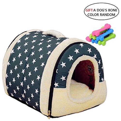 patrón de estrella Nido para mascotas, suave y acogedor perro mascota nido cálido nido mascota algodón, Multifuncional plegable Cama Cómodo Casa Para Perro gato Mascota (L, azul)