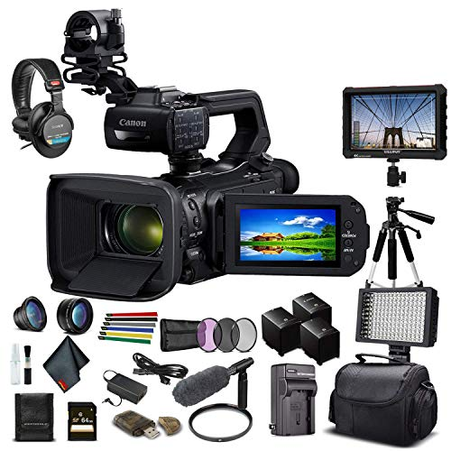 Canon XA55 Professional UHD 4K Camcorder (3668C002) W/ 2 Extra Battery, Soft Padded Bag, 64GB Memory Card, Filter Kit, LED Light, Sony Headphones, Monitor, Sony Mic and More Advanced Bundle (Renewed)