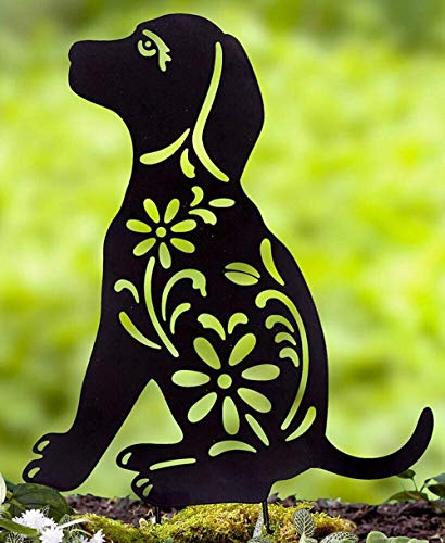 COLIBROX Animal Silhouette Garden Stake Black Puppy Dog Shaped Yard Decoration Metal Art Lawn Outdoor Home Decor
