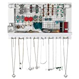 """YOUTHUP Wall Mounted Mesh Jewelry Organizer with Removable Rod & Hook, Wooden Earring Holder with Shelf, 17.5 x 3.0 x 10"""" (White)"""