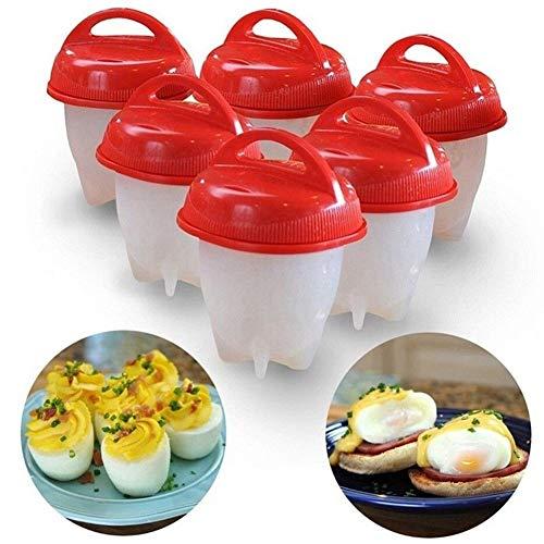 LMFLY Egg Eierkocher Nicht-klebrige Silikon Eierbecher Küchenhelfer 6-teiliges Set Silikon Eierkocher Küchenform für Gedämpfte Eier, Spiegeleier