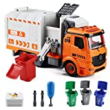 Garbage Truck Toys for Boys, Flanney DIY Friction Powered Waste Management Recycling Truck Toy Set with 4 Trash Cans, Toy Vehicles with Light and Sound, Gifts for 3-12 Years Old Toddlers