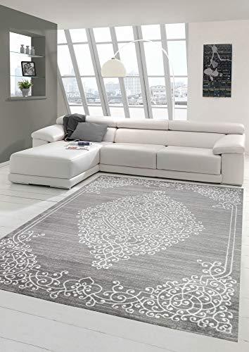 Moderner Teppich Orientteppich Ornamente mit Glitzergarn in Grau Creme Größe 80x150 cm