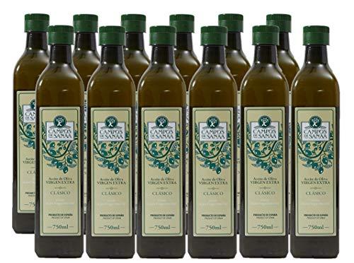 CAMPOS DE SANAA.- Caja de 12 botellas de Aceite de Oliva Virgen Extra Clásico (12 x 750ml...