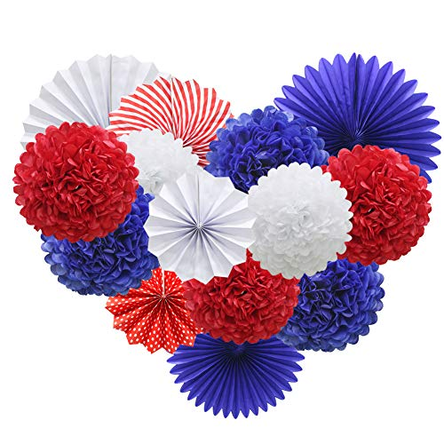 Navy Blue Red White Hanging Paper Party Decorations, Round Paper Fans Set Paper Pom Poms Flowers for 4th of July Day Patriotic Decorations Birthday Wedding Graduation Baby Shower