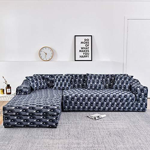 WXQY Chaise Longue Funda de sofá de Sala de Estar Funda de sofá elástica Toalla de sofá elástica Funda de sofá de Esquina en Forma de L Toalla de sofá A14 3 plazas