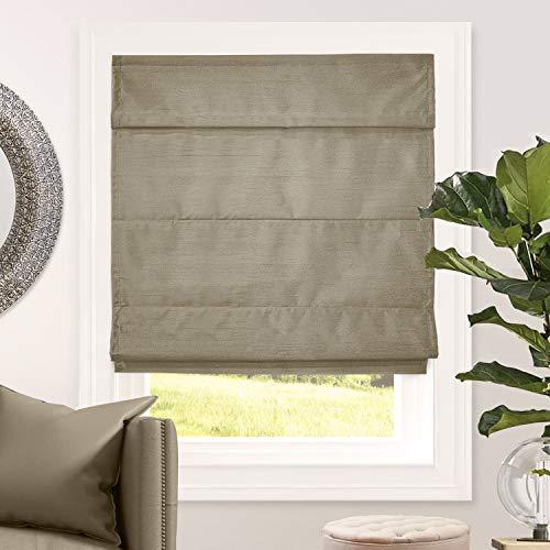 CHICOLOGY Cordless Roman Shades Blackout Lining Cascade Window Blind, 23' W X 64' H, Lux Coffee (Room Darkening)