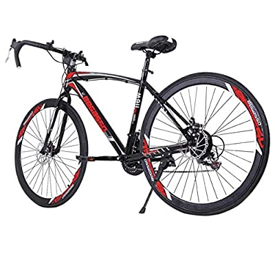 26 inch Road Bike Bicycles, Begasso Shimanos Aluminum Full Suspension Road Bike, 21 Speed Disc Brakes, 700c Tire, Mens/Womens Fashionable Bikes (Black)
